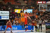 VALENCIA, SPAIN - DECEMBER 7:  10 Sato during Endesa Spanish League game between Valencia Basket Club and Laboral Kutxa Baskonia at Fonteta Stadium on December 7, 2014 in Valencia, Spain