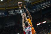 VALENCIA, SPAIN - DECEMBER 5: Sato with ball during Euroleague match between Valencia Basket Club and Crvena Zvezda Telekom Belgrade at Fonteta Stadium on Dicember 5, 2014 in Valencia, Spain