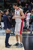 VALENCIA, SPAIN - DECEMBER 5: 13 Marjanovic during Euroleague match between Valencia Basket Club and Crvena Zvezda Telekom Belgrade at Fonteta Stadium on Dicember 5, 2014 in Valencia, Spain