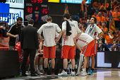 VALENCIA, SPAIN - DECEMBER 7:  Laboral players during Endesa Spanish League game between Valencia Basket Club and Laboral Kutxa Baskonia at Fonteta Stadium on December 7, 2014 in Valencia, Spain