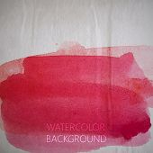 vector illustration of red watercolor stain or blotch on the old