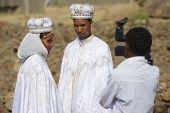 People do wedding photography in traditional dresses, Axum, Ethiopia.