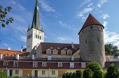 foto of olaf  - Saint Olaf church and tower of old Tallinn castle ESTONIA - JPG