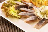 herring slice with boiled potato