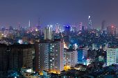 night view of Ho Chi Minh cityscape VIetnam