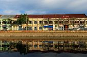 Binh Dong wharf on Tau Hu canal at Ho Chi Minh City, Vietnam in the sunrise.