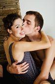 Hugging couple. Close-up portrait