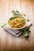 pasta with carrot leek and pine nuts