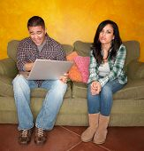 Hispanic Couple with Computer