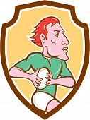 Rugby Player Running Ball Shield Cartoon
