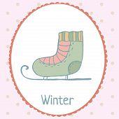 Ice skate winter card polka dot backdrop hand drawn illustration