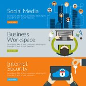 Flat Design Concept For Social Media, Business Workspace And Internet Security. Vector Illustration