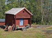 image of log cabin  - Wooden red cabin - JPG