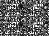 Hand Drawn Space Related Object In Seamless Background
