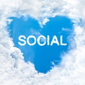 Social Word Cloud Blue Sky Background Only
