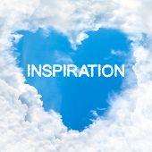 Inspiration Word Inside Heart Cloud  Blue Sky