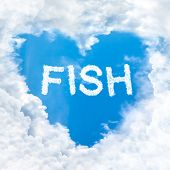 Fish Word Inside Love Cloud Blue Sky Only