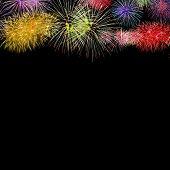 Firework Group On Black Background