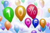 10 Percent Off Discount Balloon Colorful Balloons