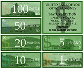 Dollar play money with nature theme
