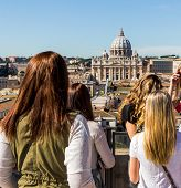 italy, rome, st. peter's basilica. seen from the castel sant'angelo from