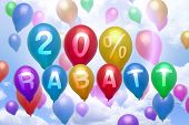 German 20 Percent Off Rabatt Balloon Colorful Balloons