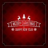 Merry Christmas greeting card template - red pattern