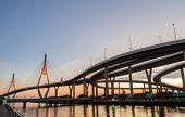 Bhumibol Bridge At Sunset In Bangkok, Thailand