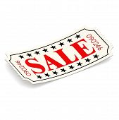 Sale Ticket On White Background