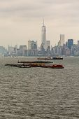 Freight Barges In New York Harbor