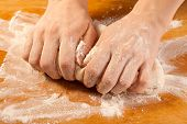 Kneading The Dough With Hands