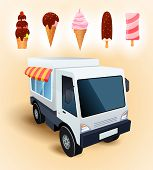 foto of food truck  - Truck for sale of ice cream - JPG