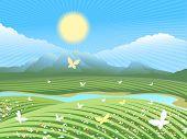 Spring farm landscape