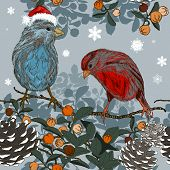 image of taper  - Vector Christmas seamless pattern with winter birds - JPG
