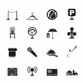 Silhouette restaurant, cafe, bar and night club icons