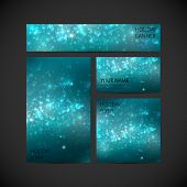 set of vector visual corporate identity with blue holiday shiny