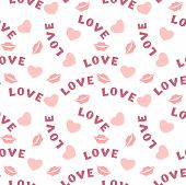 Seamless pattern with hearts lips  and inscription love on white