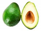 Постер, плакат: Fresh Avocado Slice And Whole Ripe Green Avocado Fruit Isolated On A White Background Whole And Hal
