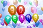90 Years Happy Birthday Balloon Colorful Balloons