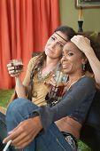 Drunk Women Embracing