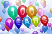 100 Years Happy Birthday Balloon Colorful Balloons
