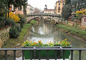 St. Michael's Bridge With The Retrone River In The City Of Vicenza