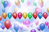 German Invitation Balloon Colorful Balloons