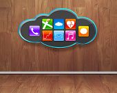 Colorful App Icons On Black Cloud With Wooden Interior Background