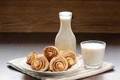 Cinnamon Rolls With Glass And Bottle Of Milk