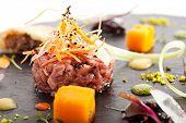 foto of tartar  - Beef Tartare with Various Dip and Vegetables - JPG