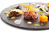 foto of tartar  - Beef Tartare with Various Dip and Vegetables - JPG