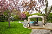 stock photo of swimming  - Residential  backyard with gazebo - JPG