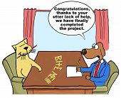 picture of working-dogs  - Cartoon of businessman project manager dog saying that although the team member cat did no work - JPG
