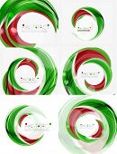 stock photo of slogan  - Vector green swirl line abstract background - JPG